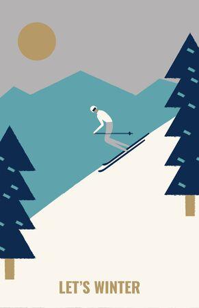 Homme descendant à skis sur la neige dans la forêt de sapins. Concept d'affiche rétro. Sports d'hiver extrêmes et activités de plein air récréatives. Illustration vectorielle plane en style cartoon.
