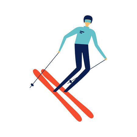 Sportsman riding downhill on ski.  Retro poster concept. Extreme winter sports and recreational outdoor activity.  Flat vector character design in cartoon style.  Isolated on white Archivio Fotografico - 129029868