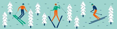 Skiers  riding or posing. Free ride in winter forest.  Extreme sports and recreational outdoor activity.  Flat vector illustration in cartoon style.  Trendy banner. Illustration