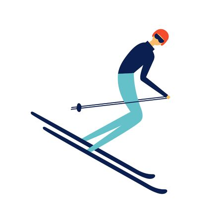 Sportsman riding downhill on ski.  Retro poster concept. Extreme winter sports and recreational outdoor activity.  Flat vector character design in cartoon style.  Isolated on white Archivio Fotografico - 129029875
