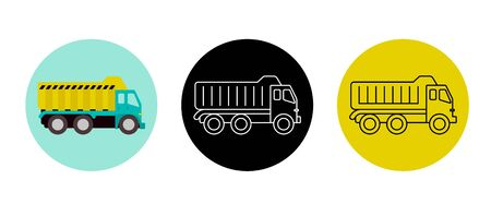 Tipper icon in 3 styles. Commercial truck icon, graphic symbol isolated on white. Side view. Stock Illustratie