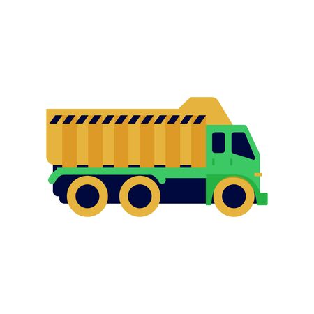 Tipper colorful illustration. Commercial truck icon, graphic symbol isolated on white. Side view. Stock Illustratie