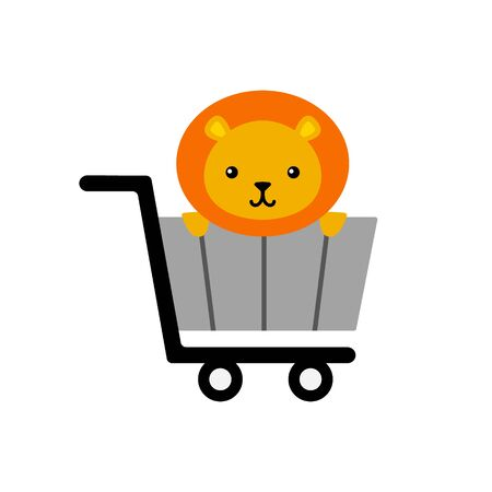 Lion sitting in a shopping cart; cute animal vector icon,  graphic symbol isolated on white.