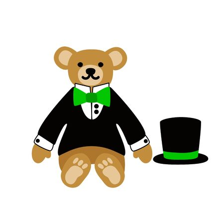 Teddy bear. Cute lovely animal toy dressed as  dandy boy in a dinner jacket, top hat and bow. Vector flat illustration. Isolated on white background. Ilustrace