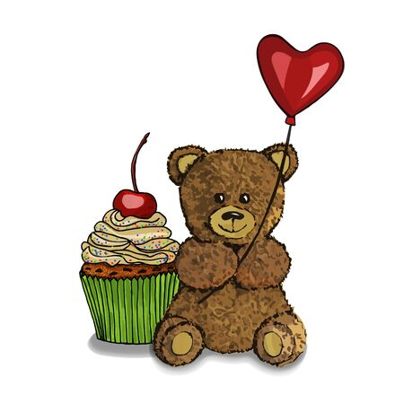 Bear toy holding heart air balloon  with cherry cupcake. Cute animal character design.  Isolated on white. Perfect for greeting cards.  Vector illustration.