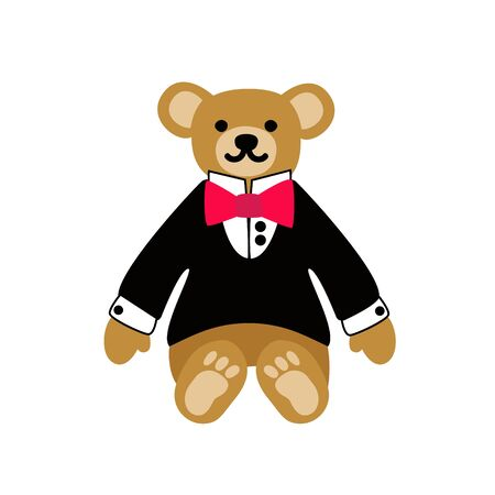 Teddy bear. Cute lovely animal toy dressed as  dandy boy in a dinner jacket and bow. Vector flat illustration. Isolated on white background. Ilustrace