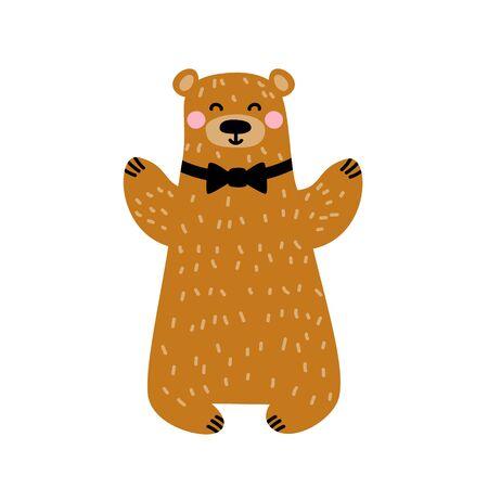 Bear animal. Smiling and greeting. Isolated on white background. Cartoon vector illustration. Ilustrace