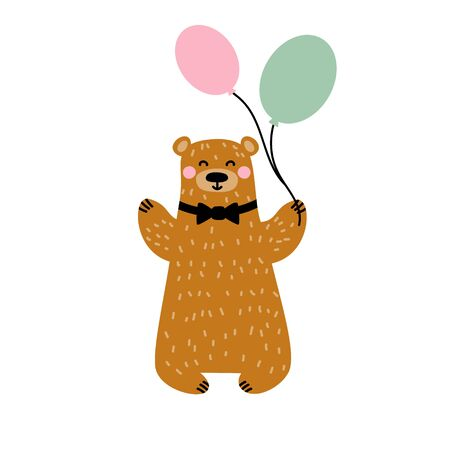 Bear animal. Smiling and Greeting. With air balloons. Isolated on white background. Vector illustration in flat style.