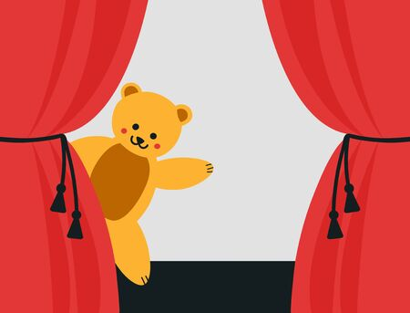 Bear artist on the stage.  Cute little toy animal waving behind the curtains.  Vector illustration