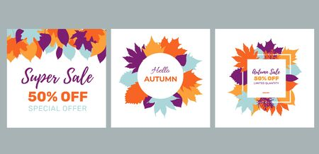 Autumn seasonal banners with colorful leaves. Fall sale templated perfect for prints, flyers, banners, invitations, promotions and more. Vector illustration.