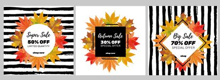 Autumn seasonal banners with colorful leaves on striped background. Fall sale templates perfect for prints, flyers, banners, invitations, promotions and more. Vector illustration.