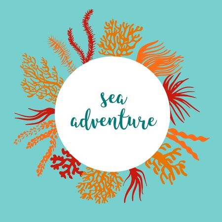 Sea corals and seaweed banner to place text. Underwater plant silhouettes.  Colorful design elements. Background for tourism, diving and adventure.