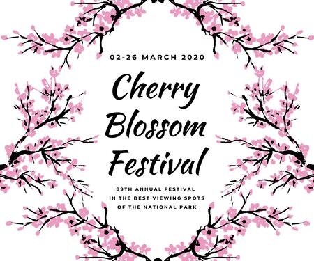 Cherry blossom event template with hand drawn branch with pink cherry flowers blooming. Sakura blossoming festival banner. Chinese or Japanese traditional drawing. Vector.