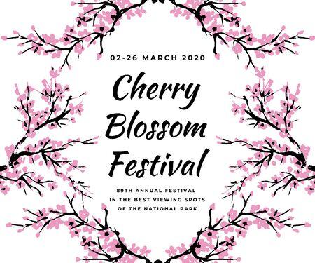 Szablon imprezy kwiat wiśni z ręcznie rysowane oddział z kwitnących różowe kwiaty wiśni. Sakura kwitnący transparent festiwalu. Chiński lub japoński tradycyjny rysunek. Wektor.