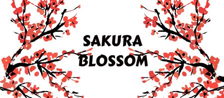 Cherry blossom event template with hand drawn branch with red sakura flowers.  Spring floral banner template. Chinese or Japanese traditional drawing. Vector. Çizim