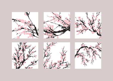 Cherry blossom cover set. Floral templates with hand drawn branch with pink cherry flowers blooming.  Sakura blossoming social media banners. Chinese or Japanese traditional drawing. Vector.