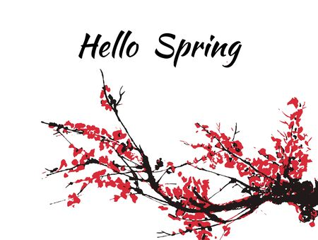 Cherry blossom Hello Spring card or banner with hand drawn branch of red cherry flowers blooming.  Sakura blossoming template. Chinese or Japanese traditional drawing. Vector.