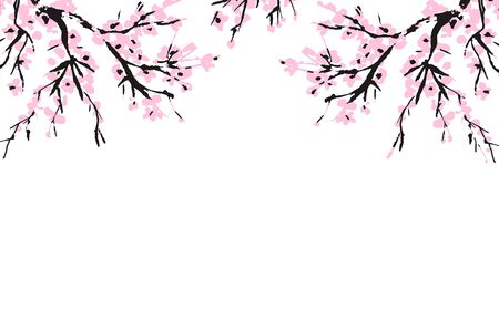 Cherry blossom spring floral template with hand drawnes branch with pink cherry flowers blooming.  Sakura blossoming banner template. Chinese or Japanese traditional drawing. Vector. Çizim