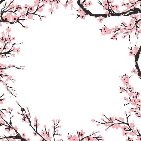Kirschblütenfrühlingsblumenschablone mit handgezeichnetem Zweig mit blühenden rosa Kirschblumen. Sakura blühende Banner-Vorlage. Chinesische oder japanische traditionelle Zeichnung. Vektor. Vektorgrafik