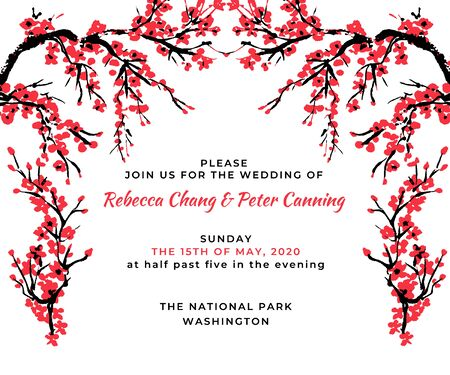 Wedding invitation template. Cherry blossom card with hand drawn branch of red cherry flowers blooming.  Sakura blossoming template. Chinese or Japanese traditional drawing. Vector.