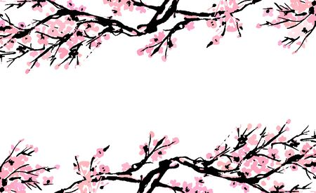 Cherry blossom spring floral template with hand drawnes branch with red cherry flowers blooming.  Sakura blossoming banner template. Chinese or Japanese traditional drawing. Vector.
