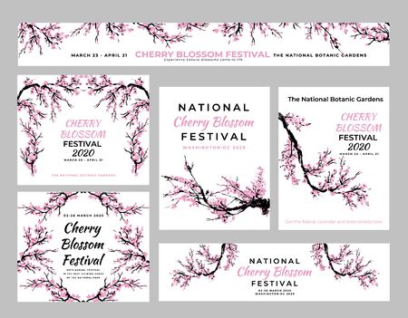 Cherry blossom template set with hand drawn branch with cherry flowers blooming.  Sakura blossoming festival banner. Chinese or Japanese traditional drawing. Vector.