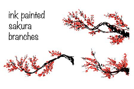 Cherry blossom set. Hand drawn branches with red cherry flowers blooming.  Sakura blossoming twig isolated on white.  Chinese or Japanese traditional drawing. Vector.