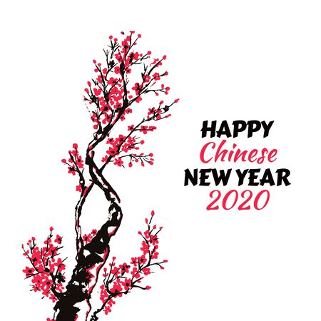Happy New Year card or banner with hand drawn branch of red cherry flowers blooming.  Sakura blossoming template. Chinese or Japanese traditional drawing. Vector.
