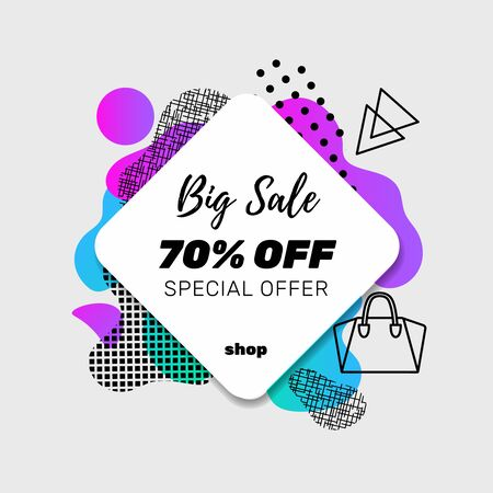 Sale banner template design with memphis pattern elements and icons. Big Sale. Vector.