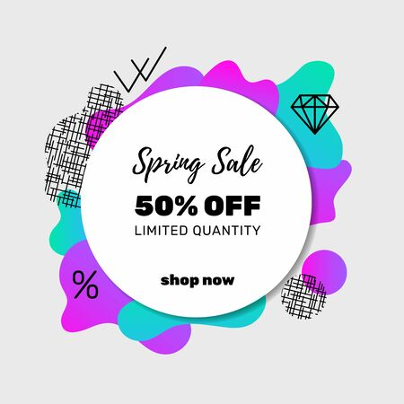Sale banner template design with memphis pattern elements and icons. Spring Sale. . Limited quantity. Vector.