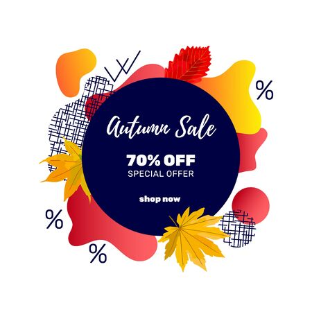 Autumn sale banner template with discount text label, memphis design elements and colorful autumn leaves for fall season shopping promotion. Vector illustration. Zdjęcie Seryjne - 130814650