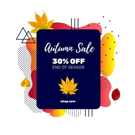 Autumn sale banner template with discount text label, memphis design elements and colorful autumn leaves for fall season shopping promotion. Vector illustration. Illustration