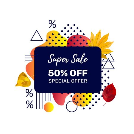 Autumn sale banner template with discount text label, memphis design elements and colorful autumn leaves for fall season shopping promotion. Vector illustration. Çizim