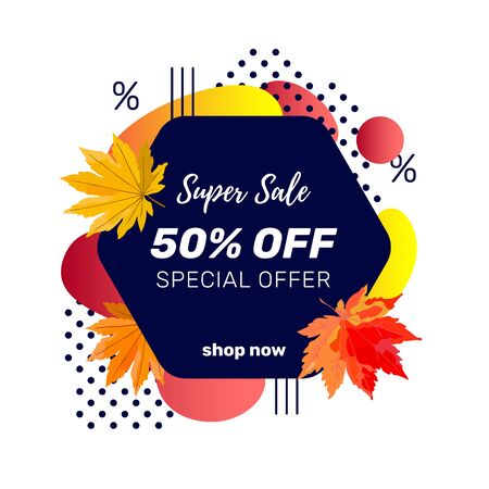 Autumn sale banner template with discount text label, memphis design elements and colorful autumn leaves for fall season shopping promotion. Vector illustration. Zdjęcie Seryjne - 130814674