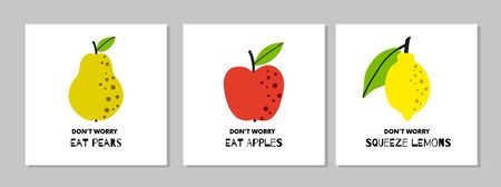 Apple, Pear and Lemon poster set.  Abstract fruits collection.  With quote Do not  Worry. Simple naive design. Artistic drawing.
