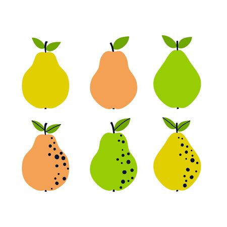 Pear set. Abstract fruit collection. Simple naive design. Artistic drawing.