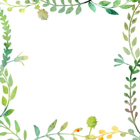 Watercolor frame.  Made of field meadow herbs, plants, twigs. Summer or spring design. Hand painted square foliage.  Herbal composition. Isolated on white. Great to frame texts, quotes and logos. Stok Fotoğraf