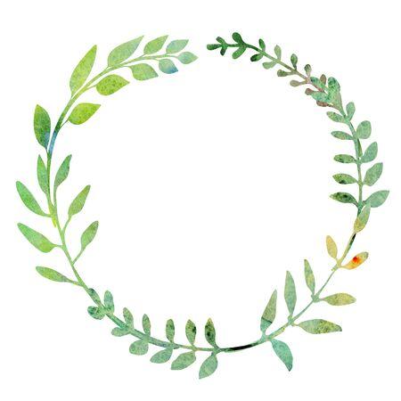 Guirnalda de acuarela. Hecho de hierbas, plantas, ramitas de prado de campo. Diseño de verano. Marco redondo pintado a mano. Círculo de composición a base de hierbas.