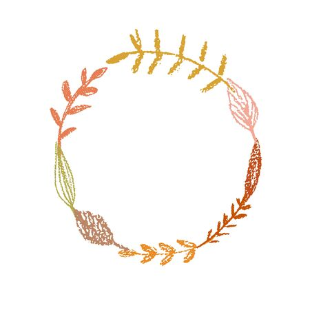 Floral wreath leaves frame silhouette colorful on isolated white. Pencil crayon hand drawn. Vector illustration Çizim