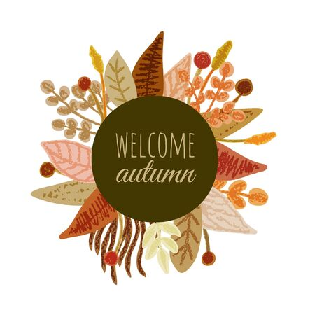 Autumn floral frame banner herbal backdrop colorful leaves  background with welcome autumn text. Pencil crayon drawing. Vector illustration. Çizim