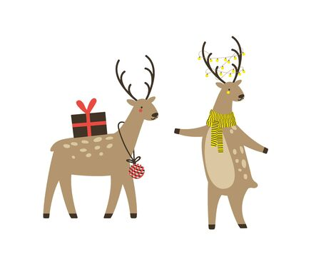 Christmas reindeer character isolated. Cute deer in cartoon flat style.. Vector illustration.  Çizim