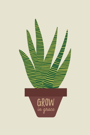 Snake plant drawing. Sansevieria house plant design. Poster or card with plant quote. Succulent potted plant. Vector colorful illustration in simple cartoon flat style. Ilustração