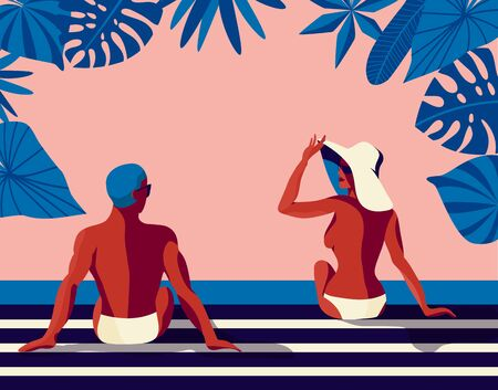 Retro summer poster with a handsome man and beautiful woman talking and sunbathing. Vintage banner with a happy couple. Great banner for beach party, hotel vacation ads. Summer background. Vector.