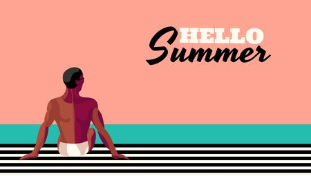 Retro poster Hello Summer with a handsome man tanning  on the beach or pool. Vintage retro colorful illustration.  Great for summer holiday.  Pop art. Vector. Standard-Bild - 134608178