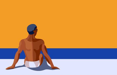 Retro poster  with a handsome man tanning  on the beach or pool. Vintage retro colorful illustration. Vector. Pop art. Standard-Bild - 134608182