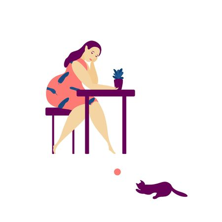 Plant lady and cat lover character. Cute young woman holding a house plant with a cat silhouette. Colorful cartoon flat illustration. Vektorové ilustrace