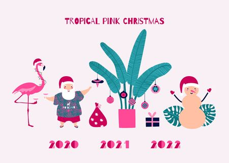 Santa Claus for Tropical Christmas Design. Celebrating with Pink Flamingo and greeting with a glass of champagne or margarita. Palm tree decorated with Christmas baubles. Sandman. Monstera leaves.