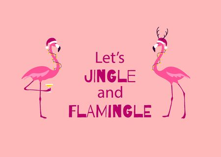 Pink Christmas Greeting card. Cute Christmas Flamingo Characters.