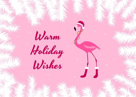 Warm holiday wishes christmas card. Pink Flamingo in Santa Hat, Garland and Shoes. Fir tree frame. Cute winter banner. Vector illustration.