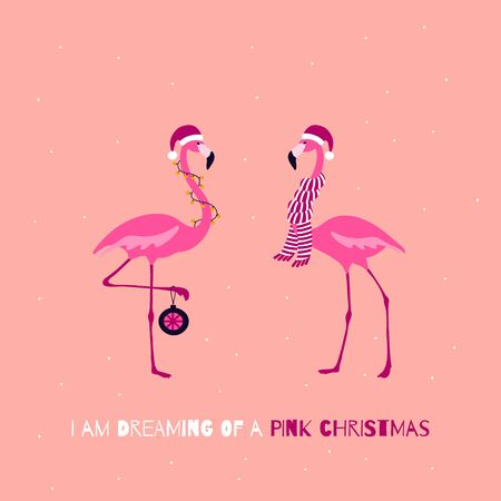 Pink Christmas Greeting card. Cute Christmas Flamingo Characters. Winter holidays quote. Vector illustration